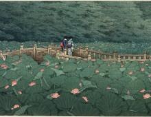 Il ponte sul mare di ninfee di Hasui Kawase